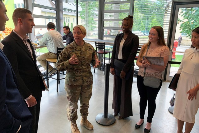 Cadets visit the Joint Cyber Center, U.S. Army African Command in Stuttgart, Germany to hear about and discuss real-world issues within the cyber domain and how it affects military operations.