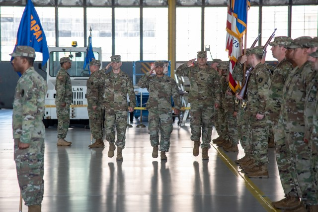 The United States Army Priority Air Transport Command (USAPAT) conducts a Change of Command and Change of Responsibility ceremony on Andrews Air Force Base, Maryland, July 16, 2019. Lt. Col. Andrew J. Deforest assumed command from Lt. Col. Matthew L. Rowland and Command Sgt. Maj William M. Peden assumed responsibility from 1st Sgt. Clarence P. Davis during the duel ceremony for USAPAT.