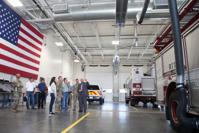 Buddy Briesmaster, 75th Civil Engineer Group director, briefs U.S. Army Corps of Engineers South Pacific Division senior leaders about military construction projects the division has overseen at Hill Air Force Base, Utah, including two state-of-the-art F-35 Lightning II aircraft hangars and a 16-bay fire crash rescue station. The group met at Hill on June 27, 2019, to tour recently completed facilities and learn how the projects have improved the military readiness of units stationed at the base. (U.S. Army photo by Ken Wright)