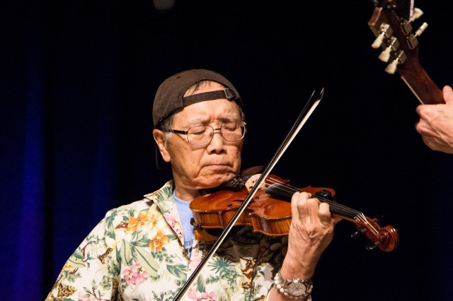 Akiyasu Sumi, violin instructor for SKIES Unlimited at Camp Zama, competes in the National Oldtime Fiddlers' Contest in Weiser, Idaho, in June.