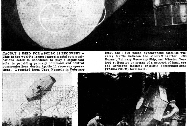 These images from the July 17, 1969 issue of the Fort Monmouth Message show the equipment the Army SATCOM Agency used to facilitate communications with Apollo 11. From the CECOM historical collection.