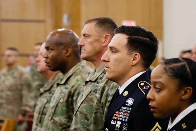 Sgt. 1st Class Matthew R. Mesa, center, Headquarters Support Company, XVIII Airborne Corps, gets ready to speak in front of a collection of Soldiers and civilians during the memorial ceremony for Lt. Col. Christian D. Blevins at Fort Bragg, N.C., May 15, 2019. Blevins was a veteran of 19 years, and he deployed twice to Iraq and once to Afghanistan. (U.S. Army photo by Pvt. Matthew O. Deckelman / 22nd Mobile Public Affairs Detachment)