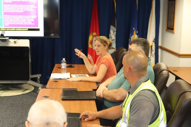 Members of the Transportation Management System (TMS) Prototype Core Team with U.S. Transportation Command (TRANSCOM) at Scott Air Force Base, Ill., Army Headquarters G4, and the Fort McCoy Logistics Readiness Center Transportation Division discuss the TMS prototype with garrison leadership July 10, 2019, at Fort McCoy, Wis. Fort McCoy is the first Army installation to be a part of the TRANSCOM TMS prototype fielding and testing. According to TRANSCOM, part of the vision of the TMS prototype is to implement an enterprise-wide management system to perform global transportation functions within the plan, order, ship, track, and pay construct and leverage interoperable data and flow of information across the Joint Deployment Distribution Enterprise. More work with the TMS prototype is expected to continue at the installation. (U.S. Army Photo by Scott T. Sturkol, Public Affairs Office, Fort McCoy, Wis.)