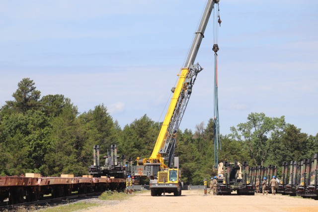 Military vehicles and equipment belonging to the 1158th Transportation Company and the 107th Surface Maintenance Company of the Wisconsin National Guard are loaded on railcars July 10, 2019, at Fort McCoy, Wis. The equipment was being shipped to Fort Hood, Texas, to be a part of a large exercise later in the year. The rail loading and related work was completed by 1158th and 107th Soldiers, 829th Engineer Company Soldiers, and employees with the Fort McCoy Logistics Readiness Center Transportation Division. (U.S. Army Photo by Scott T. Sturkol, Public Affairs Office, Fort McCoy, Wis.)