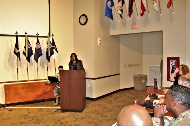 U.S. Fish and Wildlife Service (USFWS) Director-nominee Aurelia Skipwith provides opening remarks for the presentation of the 2019 USFWS Military Conservation Partner Award to the Directorate of Public Works Environmental Division Natural Resources Branch on July 11, 2019, at Fort McCoy, Wis. The award recognizes significant natural-resources management achievements by military installations, particularly the conservation of important wildlife and their habitats through cooperative work with the USFWS and other partners. (U.S. Army Photo by Scott T. Sturkol, Public Affairs Office, Fort McCoy, Wis.)