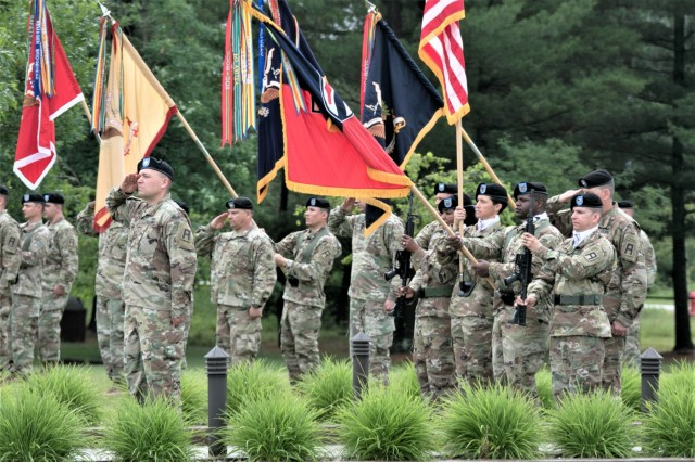Soldiers with units affiliated with the 181st Multi-Functional Training Brigade (MFTB) stand in formation June 28, 2019, in front of Veterans Memorial Plaza at the Commemorative Area at Fort McCoy, Wis., during the change of command ceremony for the 181st. Maj. Gen. Erik C. Peterson, commanding general of First Army Division West at Fort Hood, Texas, was the presiding officer for the ceremony. The 181st MFTB, a tenant organization at Fort McCoy, partners with Army Reserve and Army National Guard units to advise, assist, and train Army formations throughout their complete sustainable readiness model cycle to achieve collective training readiness in support of worldwide requirements. (U.S. Army Photo by Staff Sgt. Robert Larson, 181st Multi-Functional Training Brigade)Photo cleared for release by Scott T. Sturkol Public Affairs Office Fort McCoy, Wisconsin via DVIDS