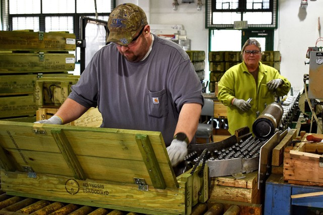Blue Grass Army Depot staff pack renovated rounds for shipment, March 27, 2019.