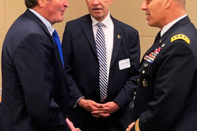 U.S. Rep. John Garamendi (D-California), Bernie Ingold, principal deputy, Chief of Legislative Liaison (center), and Gen. Gus Perna, Army Materiel Command commanding general, meet during the House Military Depot and Industrial Facilities Caucus, July 18 in Washington, D.C. The annual meeting encourages candid dialogue between Army Materiel Command leaders and Congress about the Army's priorities in sustaining readiness for the total force through a national-level maintenance process. (U.S. Army photo by Col. Rich Spiegel)