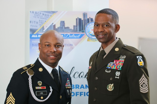 Sgt. Maj. Deondre' Long, left, chief military science instructor at Marion Military Institute, and Command Sgt. Maj. Michael Crosby, senior enlisted leader for Army Futures Command, pose for a photograph during NAACP's annual convention in Detroit on July 22, 2019. The two Soldiers as well as five others across the military earned the civil rights organization's Roy Wilkins Renown Service Award for their contributions to equality and human rights.