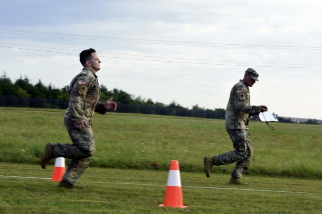 Spc. Andrew Brotherton, with the North Carolina Army National Guard, sprints to the finish line during the Army Combat Fitness Test portion of the 2019 Army National Guard Best Warrior Competition at Camp Gruber, Oklahoma, July 17. Brotherton is one of fourteen Soldiers competing in the event, hoping to be named Army Guard Soldier of the Year.