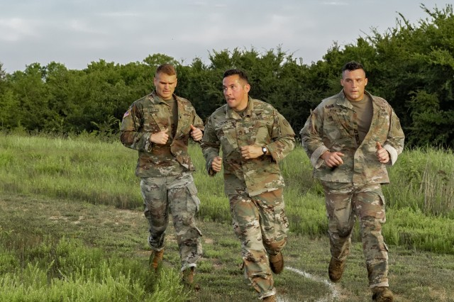 Citizen-Soldiers competing in the 2019 Army National Guard Best Warrior Competition take part in a modified ACFT at Camp Gruber Training Center, Oklahoma, July 17, 2019