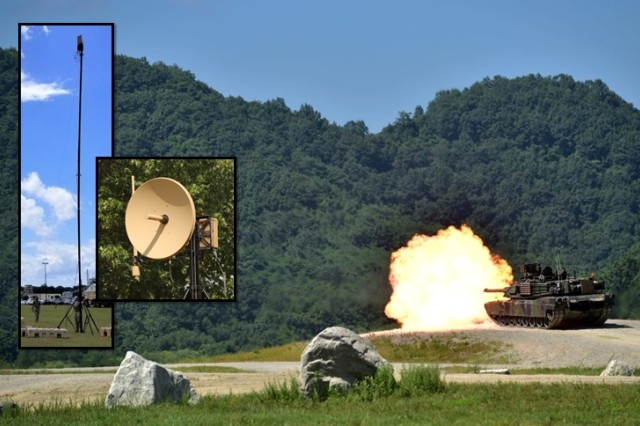 In the foreground photos, for the first time, the Army fielded its high-capacity Terrestrial Transmission Line Of Sight Radio, known as TRILOS to a brigade combat team -- the 1st Armored Brigade Combat Team (ABCT), 3rd Infantry Division -- in May 2019, at Fort Stewart, Georgia. In the background photo, 1/3 ABCT tankers conduct gunnery at Rodriguez Live Fire Complex, Republic of Korea in July 2018. The Raider Brigade was in Korea as the rotational tank brigade supporting the 2nd Infantry Division and completed its rotation in October 2018.