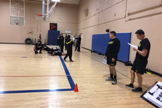 Soldiers participate in training at Bell Gym at White Sands Missile Range, NM, in order to meet the requirements of the Army Combat Fitness Test.
