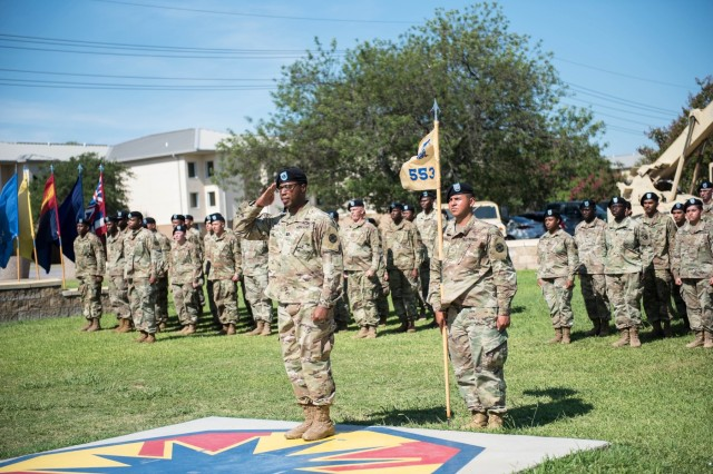 The 553rd Field Feeding Company Commander, Capt. Aramis M. Brewington, renders his salute to the 61st Quartermaster Battalion's Commander, Lt. Col. Alphonso Simmons, signifying the end of the activation, AOC and AOA ceremony July 23.   Since January 2018, the 553rd FFC was the eighth FFC to be activated in the Army and will be the first of two FFCs to activate on Fort Hood. (U.S. Army photo by Sgt. 1st Class Kelvin Ringold)