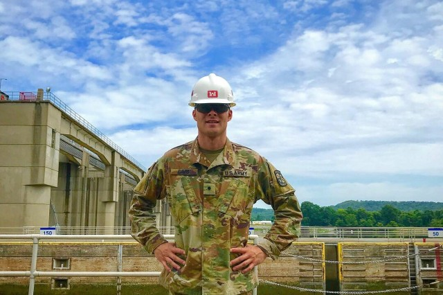 Cadet Justin Davis, who served in the Louisville District, visits Markland Locks and Dam on the Ohio River in Warsaw, Ky., July 13.