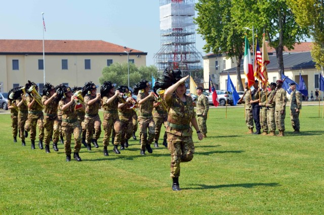 Italian army Fanfara (band) of 11th Reggimento Bersaglieri Caprera perform during the U.S. Army Garrison change of command ceremony at Caserma Ederle, Vicenza, Italy, July 24, 2019.
