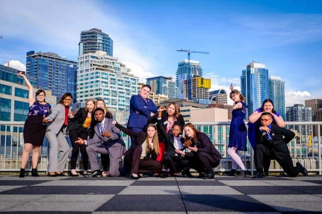 Christian Ashford, fifth from left, poses with the other Washington State Youth of the Year candidates at Bell Harbor International Conference Center in Seattle March 28.