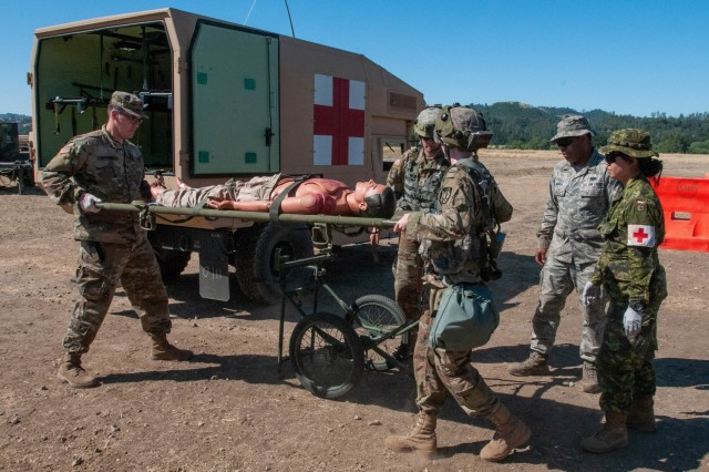 U.S. Army Reserve Soldiers assigned to 396th Combat Support Hospital, based out of Vancouver, Washington, receive patients during the Global Medic exercise held at Fort Hunter Liggett, Calif., 19 June 2019. Global Medic, part of Combat Support Training Exercise 78-19-02, is an exercise that ensures America's Army Reserve units and Soldiers are trained and ready to deploy on short-notice and bring capable, combat-ready medical professionals in support of the Army's warfighters and our joint partners anywhere in the world.