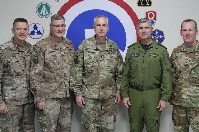 Joint senior sustainers met at the 1st Theater Sustainment Command's Operational Command Post at Camp Arifjan, Kuwait, July 25, 2019, to review the theater sustainment mission and discuss ways that U.S. Central Command's directorate of logistics and engineering can support sustainment. From left are: U.S. Army Brig. Gen. Steven King, deputy commanding general for sustainment for the 38th Infantry Division, Task Force Spartan; U.S. Army Brig. Gen. Clint E. Walker, commanding general of the 184th Sustainment Command; U.S. Army Maj. Gen. John P. Sullivan, commanding general of the 1st Theater Sustainment Command; Canadian Armed Forces Maj. Gen. Sean G. Friday, vice director of logistics and engineering for U.S. Central Command; and U.S. Air Force Brig. Gen. Darren R. Cole, director of the U.S. Central Command Deployment and Distribution Operations Center. (U.S. Army National Guard photo by Sgt. Ashley Breland)