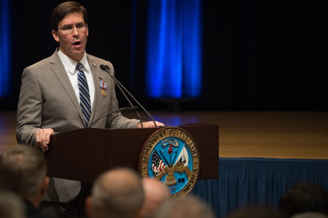 Secretary Mark T. Esper thanks Soldiers and Army employees for their dedication and service during his farewell speech to them as secretary of the Army in the Pentagon auditorium, July 24, 2019, after being sworn in the prior evening as secretary of Defense.