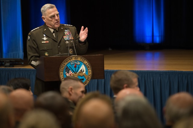 Chief of Staff of the Army Gen. Mark A. Milley praises accomplishments of Secretary of the Army Mark T. Esper at the secretary's farewell to the Army in the Pentagon auditorium, July 24, 2019. Esper was sworn in the evening before as  secretary of Defense.