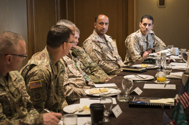 U.S. Army Maj. Gen. Jeffrey Drushal, second from left, commander of U.S. Army Security Assistance Command, discusses Saudi foreign military sales cases with members of the executive committee during the U.S. and Saudi Grand Security Assistance Review held in Washington, D.C., July 15-19.