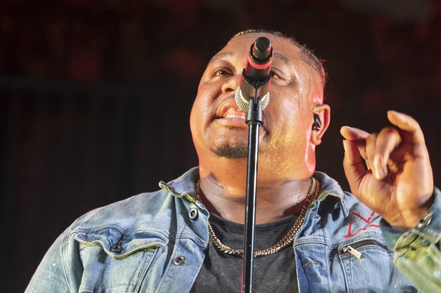 Tedashii Lavoy Anderson, better known as Tedashii, a Christian Hip-Hop artist, performs before a packed Solomon Center July 21 during the annual Combined Protestant Worship Service.