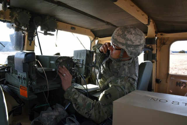 Soldiers in the field learn how to operate in a navigation warfare, or NAVWAR, environment by U.S. Army Space and Missile Defense Command/Army Forces Strategic Command training teams. The command is the Army's representative to identify and advocate for positioning, navigation and timing information as well as establish and formalize joint NAVWAR requirements. (Courtesy photo)