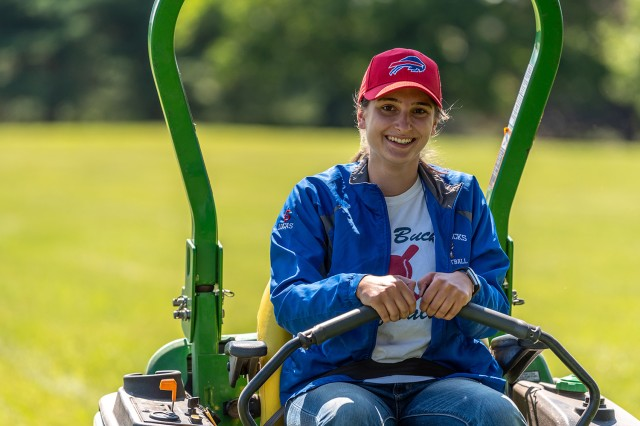 Nicolette Lucas, a first-time Tobyhanna intern, serves as a member of the depot roads and grounds crew.