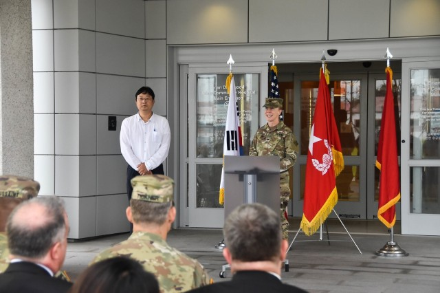 Col. Teresa Schlosser, former U.S. Army Corps of Engineers, (USACE), Far East District (FED) provides remarks during the new Brian Allgood Army Community Hospital and Ambulatory Care Center Acceptance Release Letter signing ceremony on U.S. Army Garrison Humphreys July 24, 2019.
