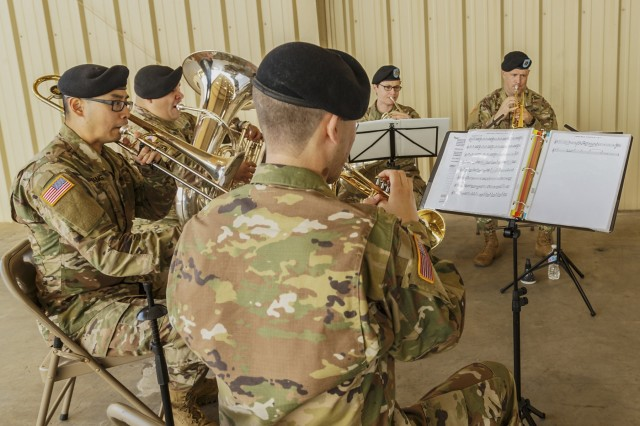 The 300th Army Band Brass Quintet provided the music for Anniston Army Depot's July 25 Change of Command ceremony.