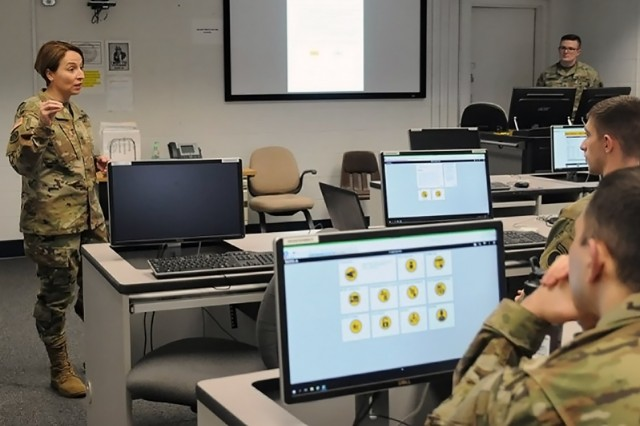 Brig. Gen. Yesenia R. Roque, assistant director for Army National Guard Personnel and Talent Management, discusses IPPS-A with Virginia National Guard Soldiers during an April 6 visit to the 116th Infantry Brigade Combat Team in Staunton, Virginia. Virginia is the second state to conduct initial fielding of IPPS-A, developed by PEO EIS and designed to integrate personnel, pay and talent management capabilities in a single system for all Army components. (U.S. Army National Guard photo by Sgt. Saul Rosa)