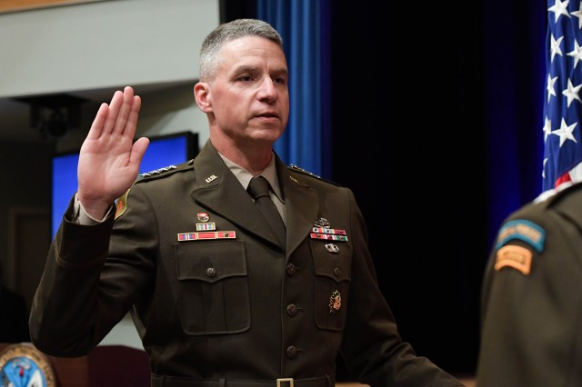 Gen. Joseph M. Martin is sworn in as the Army's vice chief of staff at the Pentagon, Arlington, Va., July 26, 2019. He succeeds Gen. James C. McConville who served in the position since June 2017. McConville was confirmed by the Senate to succeed Gen. Mark A. Milley as the service's chief of staff.