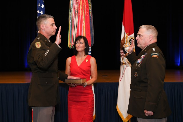 U.S. Army Chief of Staff Gen. Mark Milley swears in Gen. Joseph Martin as the Army Vice Chief of Staff