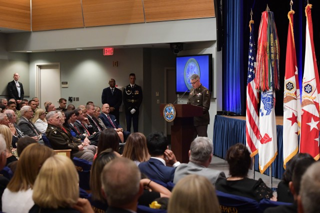 Gen. Martin addresses the guests during swearing in event