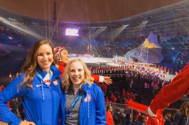 U.S. Army 1st Lt. Sarah Beard, a Danville, Ind. native with the U.S. Army Marksmanship Unit, stands with Ginny Thrasher at the Opening Ceremonies of the 2019 Pan American Games in Lima, Peru. Both athletes were representing Team USA in the Women's Three-Position Rifle event.