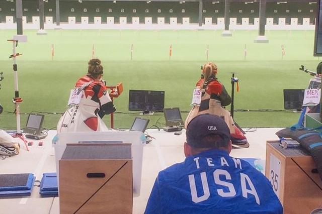 U.S. Army 1st Lt. Sarah Beard, a Danville, Ind. native with the U.S. Army Marksmanship Unit, fires in the kneeling position next to US teammate Ginny Thrasher during the Women's 50m Three-Position Rifle Finals at the 2019 Pan American Games in Lima, Peru.