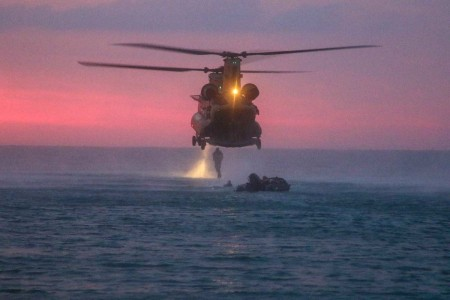 Soldiers assigned to 5th Special Forces Group (Airborne) and the Florida Air National Guard, conducted helo-cast training off the coast of Florida, June 13, 2019. During the training, Green Berets completed a helo-cast exit from the tail gait of the ...