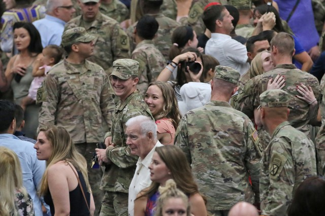 Several hundred Soldiers of 2nd Brigade Combat Team, 10th Mountain Division were reunited with their Families during two Welcome Home Ceremonies following a nine month deployment, July 23, 2019, at Fort Drum, New York. Last fall around 2,000 Soldiers from 2BCT deployed to Kosovo and Afghanistan in support of an ongoing North Atlantic Treaty Organization peacekeeping mission and Operation Resolute Support. (U.S. Army photo by Staff Sgt. Paige Behringer)