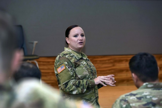 Army Capt. Melody Howell, a logistics integrator with the South Dakota Army National Guard's 196th Maneuver Enhancement Brigade, speaks about her experience with the Army National Guard's High Performing Leader Program while at the Herbert R. Temple Jr. Army National Guard Readiness Center, in Arlington, Va., July 10, 2019. As part of the HPLP, Howell was assigned to Army Sustainment Command at Rock Island Arsenal, Ill., where she gained experience in coordinating strategic-level logistics operations for the Army Guard.