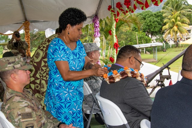 Labasa local Kinisimere Ram (left), dons a garland onto distinguished guest Mr. Manasa Lesuma, Permanent Secretary Ministry of Defence and National Security, during the opening ceremony of Exercise Cartwheel 2019, in Labasa, Fiji, July 29. Exercise Cartwheel focuses on building readiness through military-to-military training, and the US Army stands trained and ready to set the conditions for success across the Pacific. The military relationship between the U.S. and Fiji is strong and based on mutual respect and cooperation. Combined bilateral training provides ready land forces capable of conducting full spectrum multinational operations to prevent, mitigate and respond to transnational and regional threats.