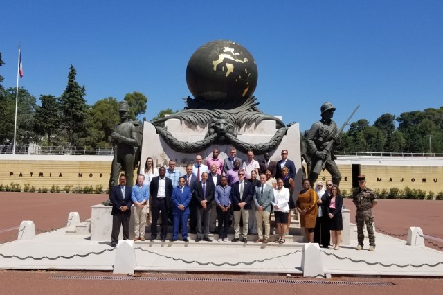 Students of the Language Immersion Program, including USACAPOC(A) Soldiers, pose at the French Foreign Legion Museum in Aubagne, France. The Language Immersion Program event is a USAID-led and developed interagency program. (Photo courtesy Ned Filipovic, Language Program Manager)