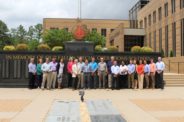 Members of Special Operations Forces-Civilian Leadership and Development Program visited the U.S. Army Special Operations Command Memorial Plaza during a two-day visit hosted by USASOC, June 10-11, 2019.  (Photo by U.S. Army Special Operations Command Public Affairs Office.)