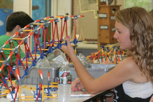 Students learn engineering concepts through hands-on activities.