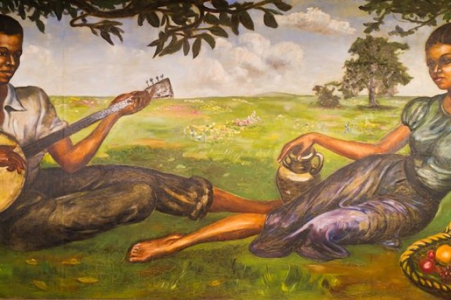 A mural Staff Sgt. Samuel Countee, an African American Soldier and artist, painted during his time at Fort Leonard Wood in Word War II.