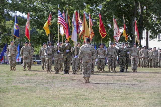 Col. William Galbraith, 21st Theater Sustainment Command, deputy commanding officer, leads his formation during the 21st TSC change of command for outgoing commander Maj. Gen. Steven A. Shapiro on Daenner Kaserne in Kaiserslautern, Germany July 31, 2019. Maj. Gen. Christopher O. Mohan is the 23rd commanding general of the 21st TSC since the command's inception in 1965. (U.S. Army photo by Pfc. Charles Thorman, 21st Theater Sustainment Command)