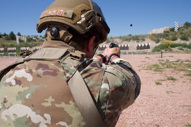 Tech. Sgt. Shawn Carter, Alaska Air National Guard, shoots a course of fire July 28, 2019, at Camp Guernsey, Wyo., during the Marksmanship Advisory Council Region 6 Championship. The MAC matches are battle-focused marksmanship sustainment exercises, designed to validate and sustain perishable marksmanship skills essential to mobilization readiness and success.