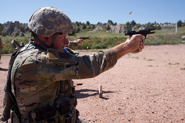 Senior Master Sgt. Wade Swenson, North Dakota Air National Guard, shoots a course of fire July 28, 2019, at Camp Guernsey, Wyo., during the Marksmanship Advisory Council Region 6 Championship. The MAC matches are battle-focused marksmanship sustainment exercises, designed to validate and sustain perishable marksmanship skills essential to mobilization readiness and success.