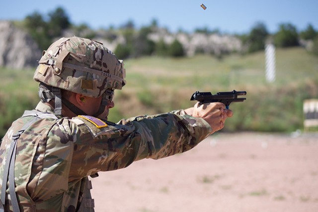 Sgt. Dustin Christofferson, South Dakota Army National Guard, shoots a course of fire July 28, 2019, at Camp Guernsey, Wyo., during the Marksmanship Advisory Council Region 6 Championship. The MAC matches are battle-focused marksmanship sustainment exercises, designed to validate and sustain perishable marksmanship skills essential to mobilization readiness and success.