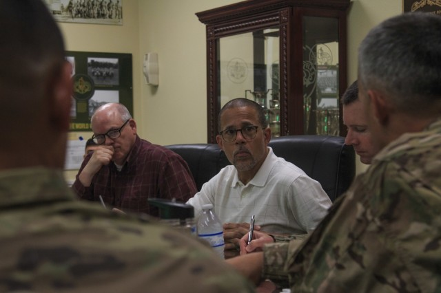 (Left to right) Mr. Billy Sutey member of the House Armed Services Subcommittee on tactical Air and Land Forces and Anthony Brown, United States Representative, 4th District Maryland participates in a roundtable discussion with the 3d Cavalry Regiment's command team, July 31, 2019. (U.S Army photo by Staff Sgt. Justin Geiger, 3d Cavalry Regiment)